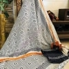 Block Print Cotton Suit Set With Chiffon Dupatta
