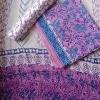 Monochrome Block Printed Cotton Mul Saree
