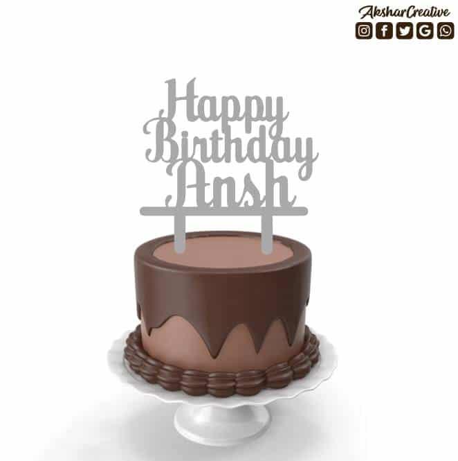 Wonderwheelstore | 27 | Acect012 Happy Birthday Name Personalised Caketopper